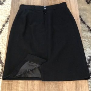 Brooks Brothers Wool Lined Pencil Skirt Black 8